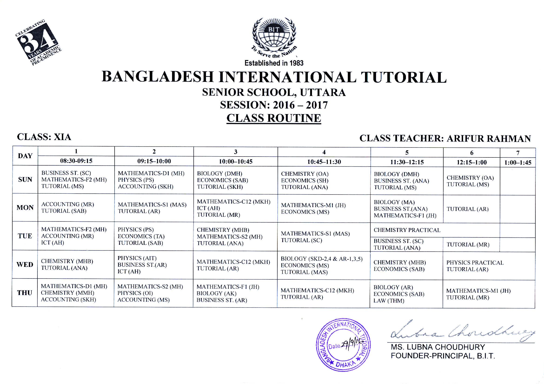 b i t class routine 2016 2017